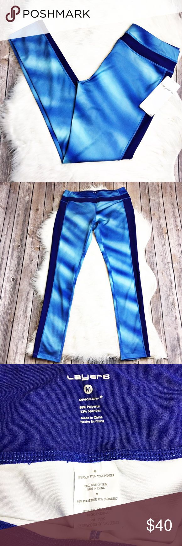 """Layer 8 Workout Pants Gorgeous blue ombré workout pants by Layer 8.  NWT.  Material is 88% polyester and 12% spandex.  Measurements laid flat: waist 14.5"""", hip 17.5"""" and inseam 28.5"""". Layer 8 Pants Leggings"""