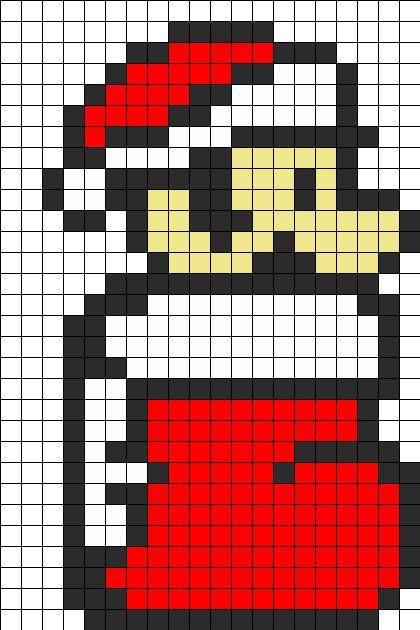Mario Christmas Perler Bead Pattern / Bead Sprite