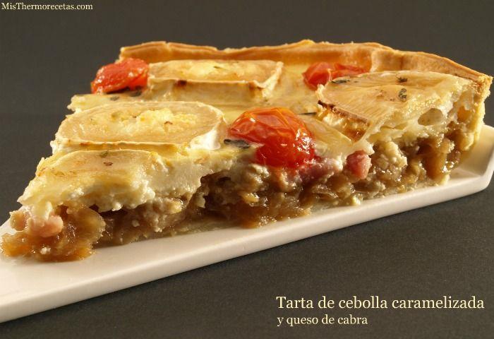 Tarta de cebolla caramelizada y queso de cabra - MisThermorecetas.com