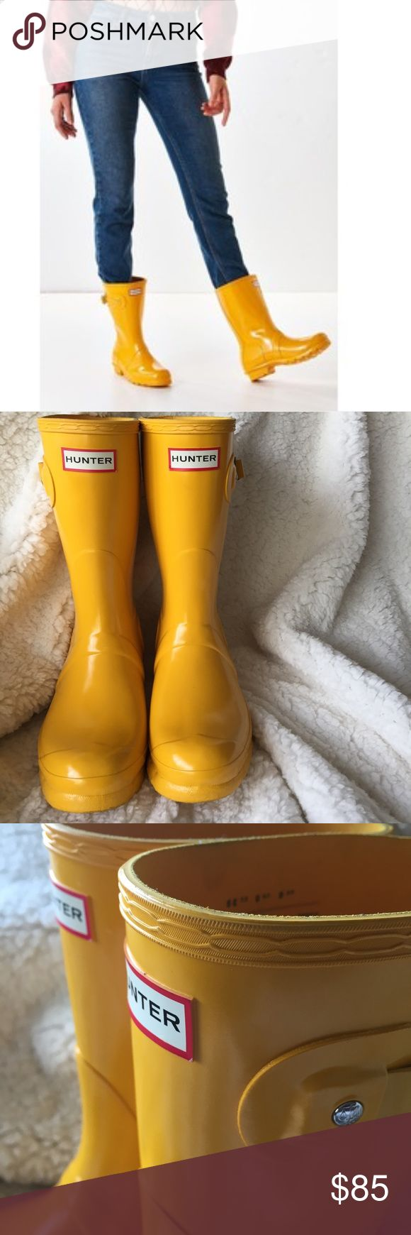 Hunter // Yellow Short Rainboots Can't help but smile with these bright yellow Hunter Rainboots. Perfect with some shorts for running errands or to keep your toesies dry during a spring rainstorm. Worn one season and are in fantastic condition with no damages or blooming. Currently sold at Urban Outfitters. Hunter Shoes Winter & Rain Boots