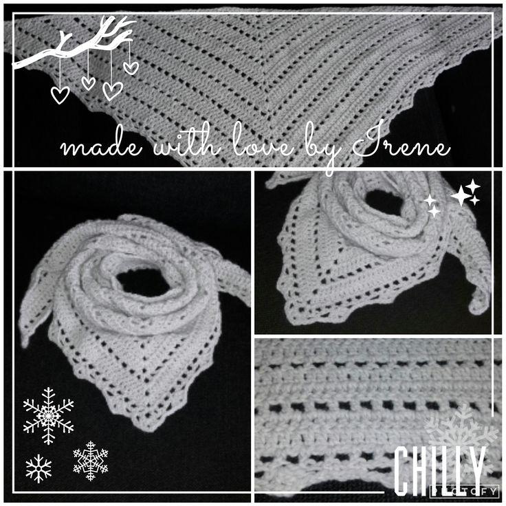 Irene Haakt: Penelope sjaal driehoek gehaakt gehaakte haken haakpatroon haak patroon Julia garen