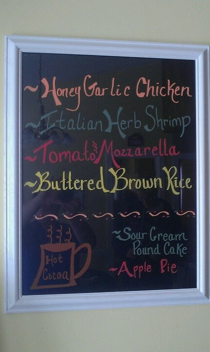 Menu Board or To Do List...black paper under glass frame. Write on with liquid chalk markers! Love it!