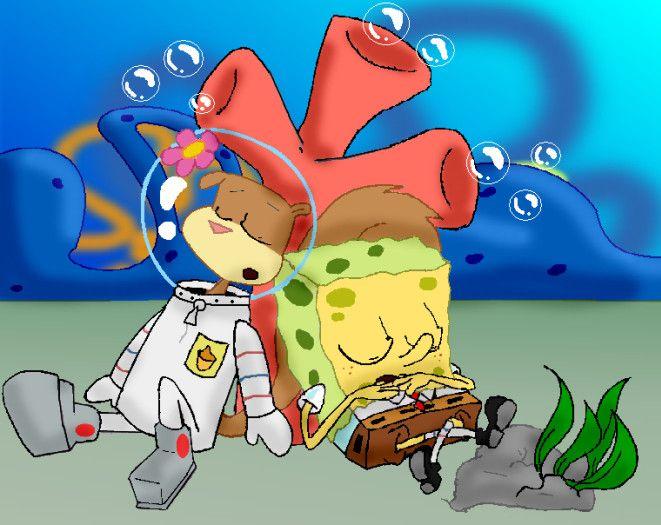 spongebob and sandy sleep by LillayFran.deviantart.com on @DeviantArt