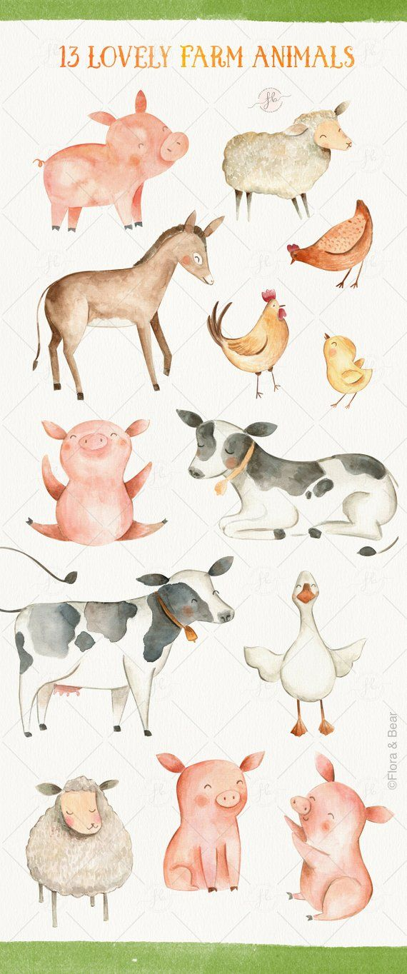 18 Poster,farm invitation and card making set Hand drawn farm animals clipart on a transparent background Watercolor Sheep Clipart PNG
