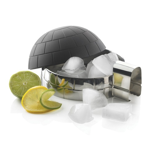 Igloo icecube container. Stainless steel insulating ice cube container with silicon lid/ice cube maker in shape of igloo, including stainless steel tongs.