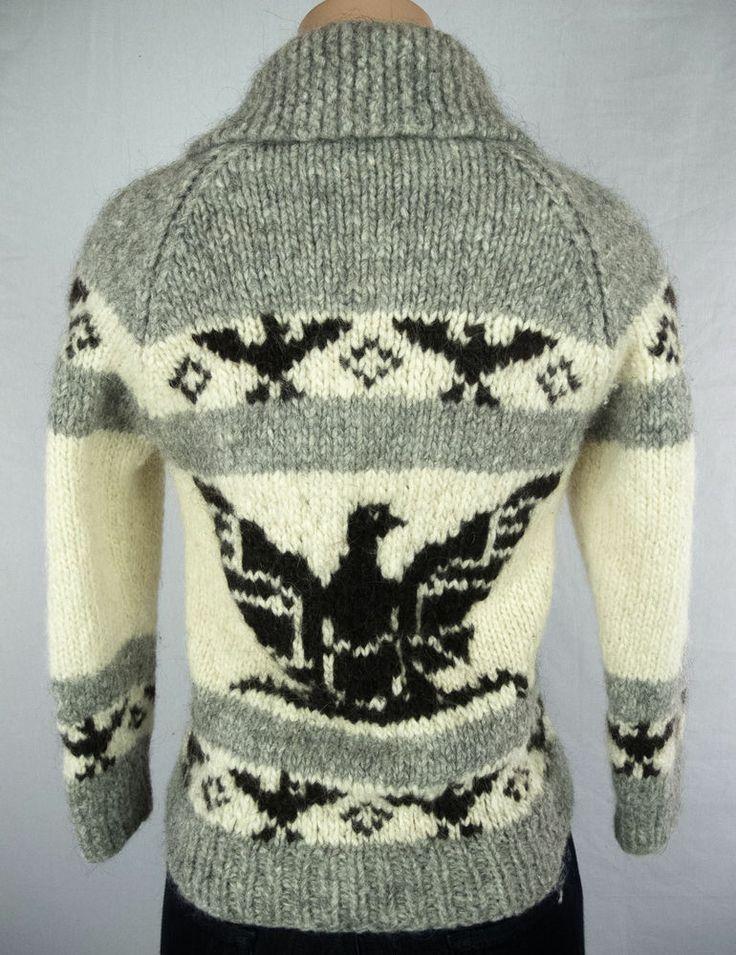 COWICHAN Sweater Size S Wool Thunderbird Heavy Knit Hand Made #Cowichan #Cardigan