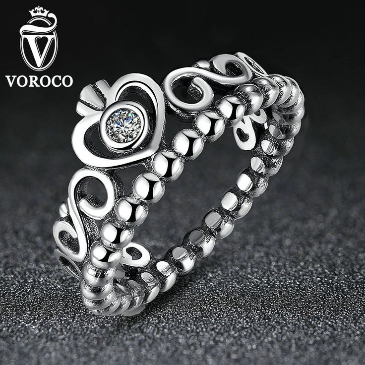 Authentic 925 Sterling Silver My Princess Queen Crown Ring Design Wedding Rings For Women Jewelry A7204 *** Click the image to visit the website