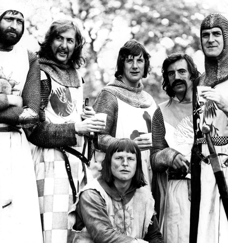 Terry Gilliam, Terry Jones, Graham Chapman, Eric Idle (rear), Sue Jones-Davies, John Cleese and Michael Palin filming Life of Brian in 1979.