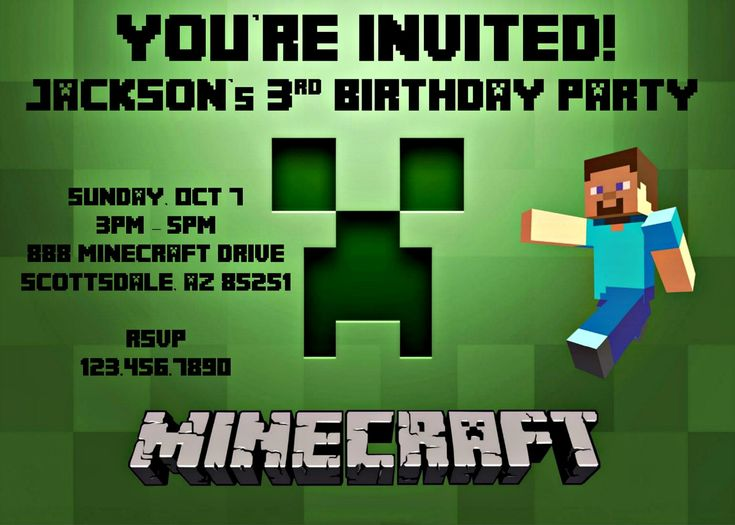 64 best images about minecraftinvitation – Mine Craft Invitation Template
