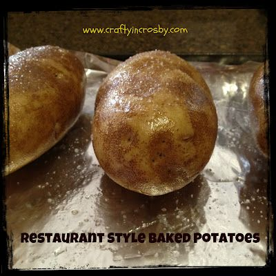 Easy Restaurant Style Baked Potatoes - how to.  Crispy and doesn't take an hour!
