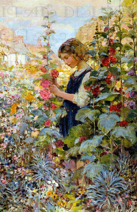STUNNING Gorgeous Girl Amongst Flowers in Garden. Digital Garden Vintage ILLUSTRATION. Vintage Digital Flowers Download.