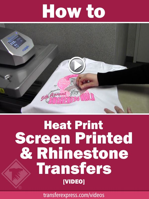 Learn how to heat print screen printed and rhinestone transfer designs onto the same T-shirt using a heat press! Learn more at TransferExpress.com