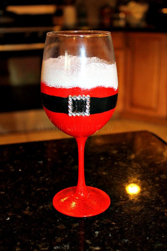 Hand Painted Christmas Wine Glass Featuring Santas Suit