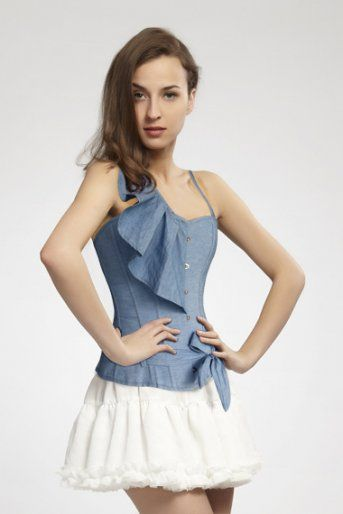 White Mini Sexy Skirt Fashion Court Type Blue Corset Bustier Tops Dress