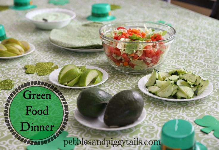 St. Patrick's Green Food Ideas. Have a GREEN FOOD DINNER on March 17th. This has a big list of yummy green foods!