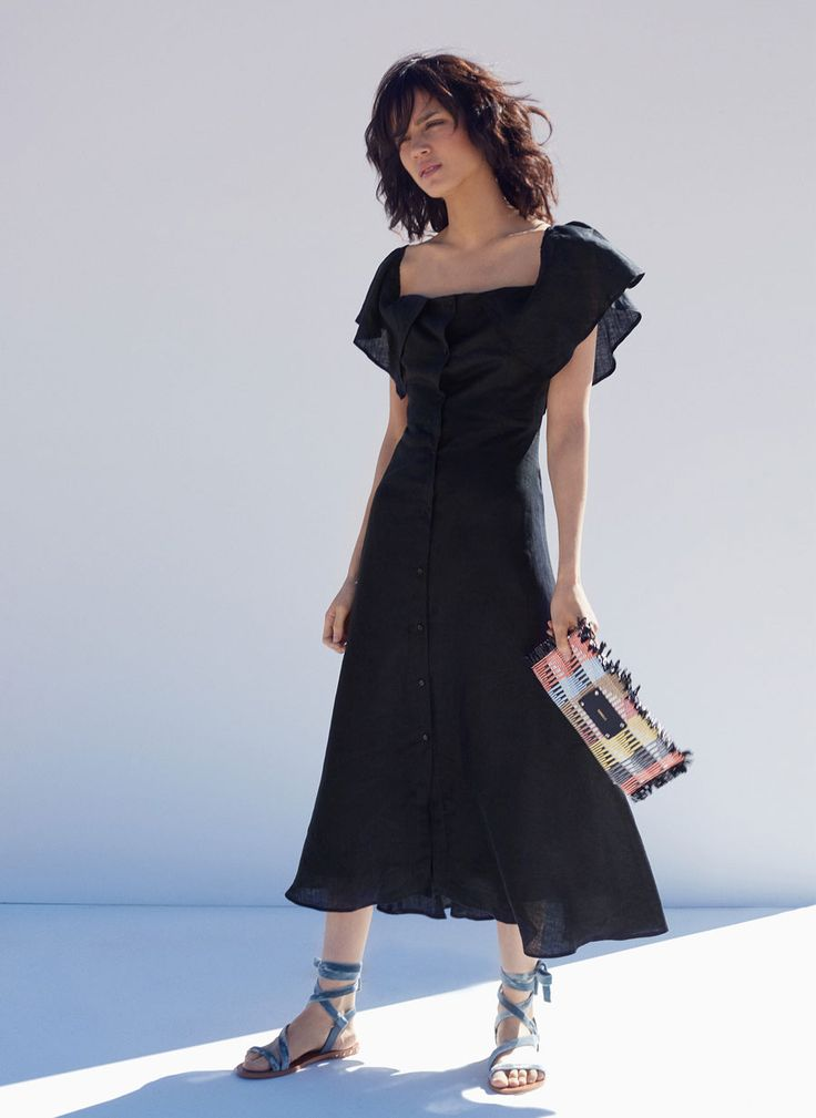 Uterqüe Spain Product Page -  - Black linen dress - 49.95