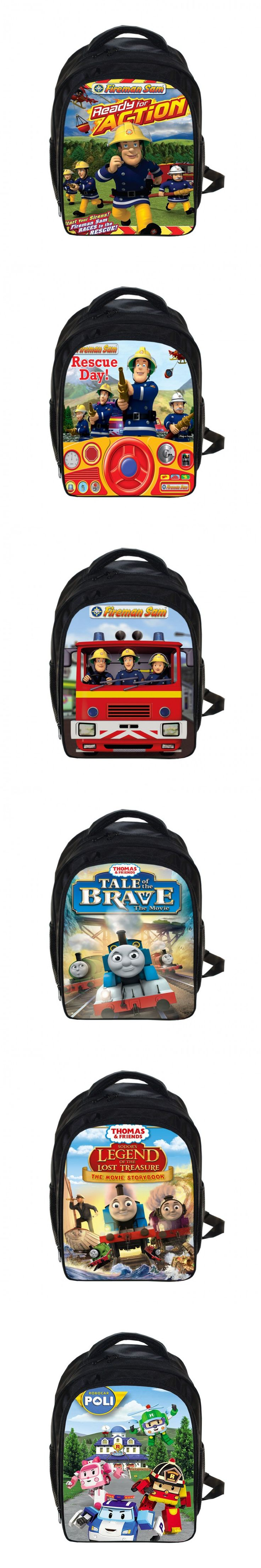 Cartoon Fireman Sam Backpack Thomas And Friends / Robocar Poli Backpack Children School Bags Kindergarten Backpacks Kids Bag