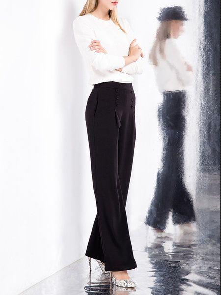 Shop Wide Leg Pants - Black Polyester Plain H-line Wide Leg Pants online. Discover unique designers fashion at StyleWe.com.