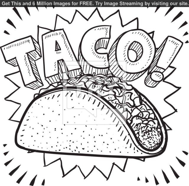 Wonderful Image Of Taco Coloring Page Entitlementtrap Com Food Coloring Pages Taco Drawing Coloring Pages