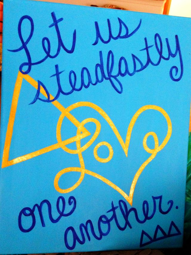 """Tri Delta """"Let Us Steadfastly Love One Another"""" Canvas"""