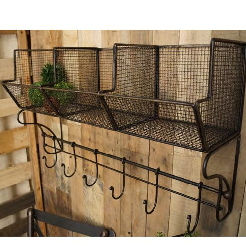 Rodworks - Three Bin Shelf with Hooks, hooks, shelf, laundry room, office decor, home decor