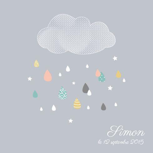 Faire-part naissance Tombe la pluie  Mr and Mrs Clynk pour l'Atelier Rosemood fairepartnaissance.fr #fairepartnaissance #mrmrsclynk