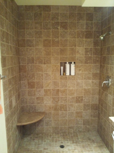 Tumbled noce travertine shower bathroom tile pinterest for Bathroom travertine tile designs