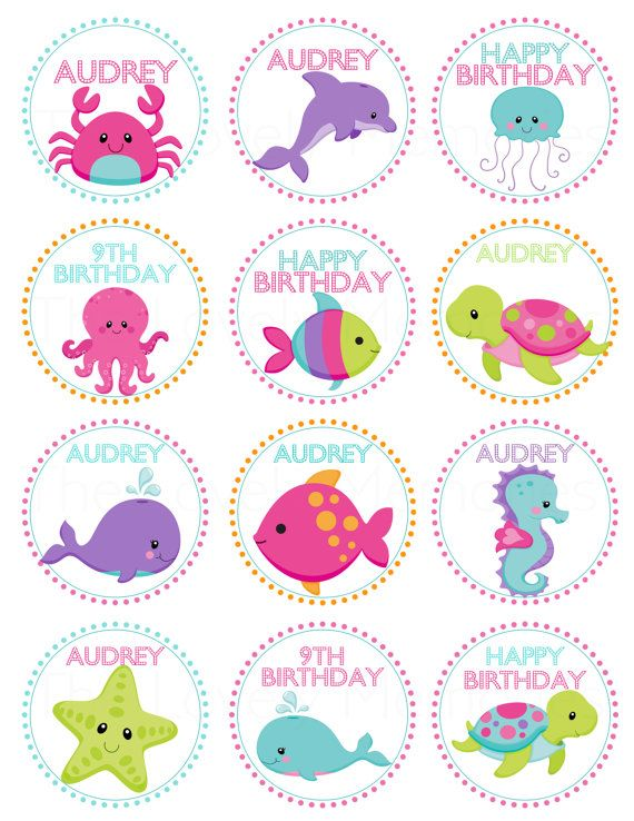 Pink Girls Under the Sea Birthday- Personalized Printable Cupcake Toppers /Gift…