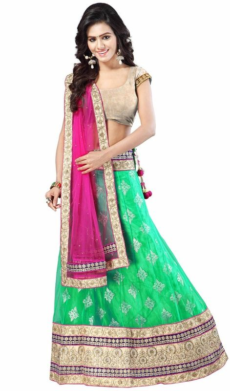Dress to impress with this sea green color embroidered net choli skirt. This stunning choli is displaying some remarkable embroidery done with resham and zari work. #PrettyDesignOfNetLehangaCholee