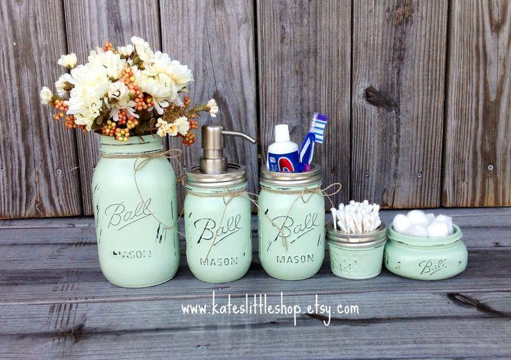 Mason jar bathroom kit ball mason jars rustic home decor for Sea green bathroom accessories