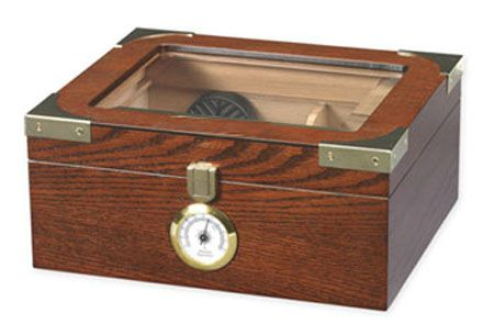The Elegant Glass Top Cigar Humidor - Holds 50 Sticks $36.99