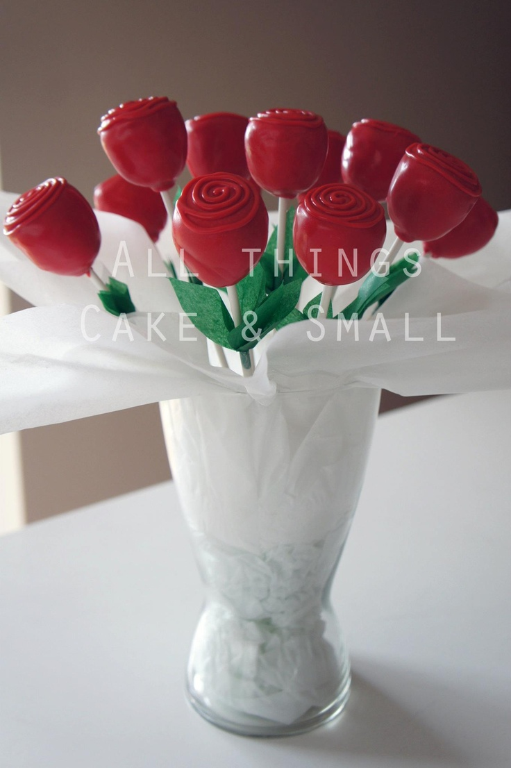 Red rose cake pop bouquet great Valentine's day idea!!