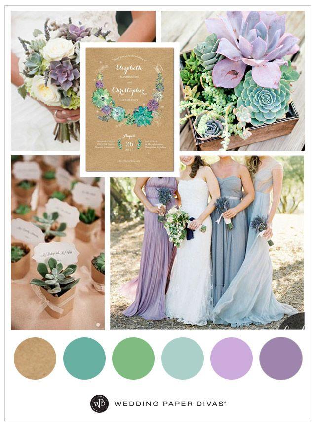 Lavender Succulent Wedding Ideas. Pretty color palette.
