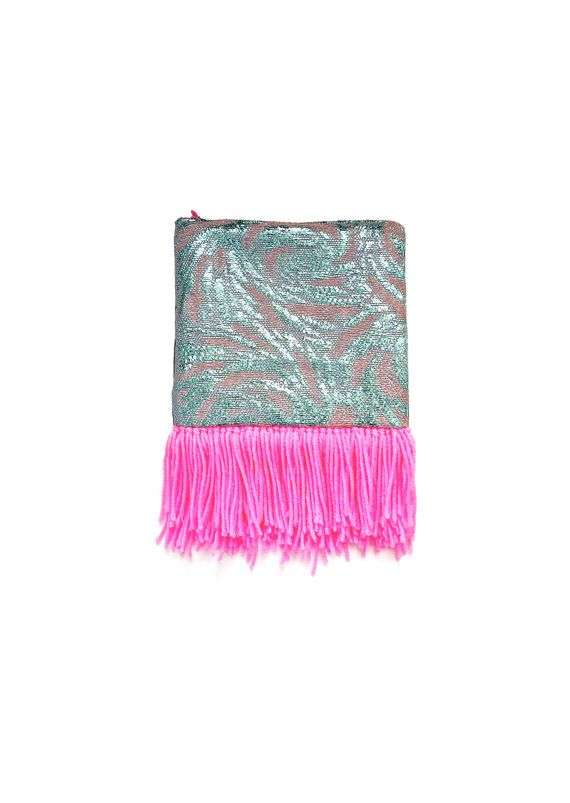 Tissés à la main rose néon et embrayage bleu Pastel / Make up Pouch / fermeture éclair sac / sac à main de velours gris