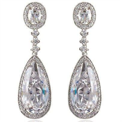 Elegant Tear Drop Swarovski EarringsOzsalePT89-Silver