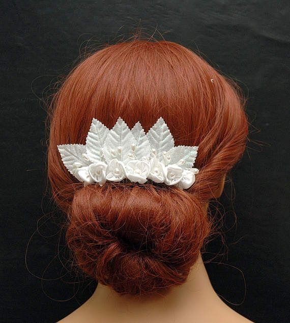 Vintage Silk White Flower Hair Comb Wedding Pearl Hair Comb
