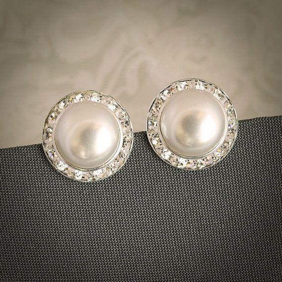 LAURA Classic Pearl and Crystal Rivoli Bridal by GlamorousBijoux, $26.00