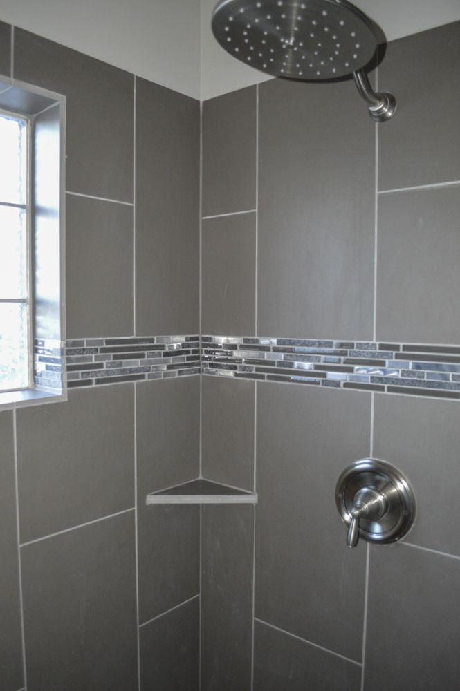 Master Walk In Shower With Glass Block Window And