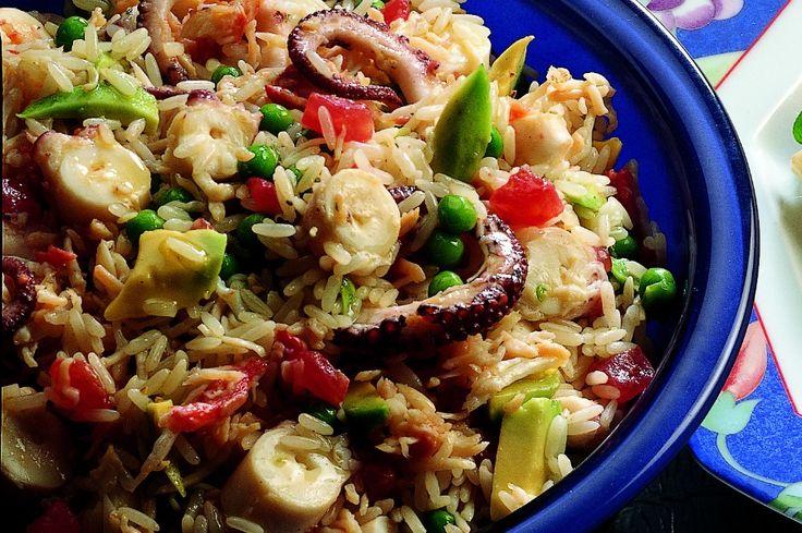 Insalata di riso con polpo e granchio