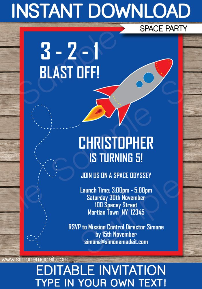 Space Rocket Party Invitations Template Space party