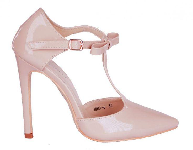 Pantofi Dama Sleek Beige  -Pantofi dama cu toc  -Toc 11cm  -Se inchid cu catarama lateral exterior