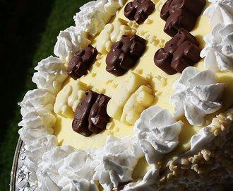 Torta con Mousse al cocco crema al cioccolato e granella di nocciole. Coconut Mousse Cake with chocolate cream and chopped hazelnuts.