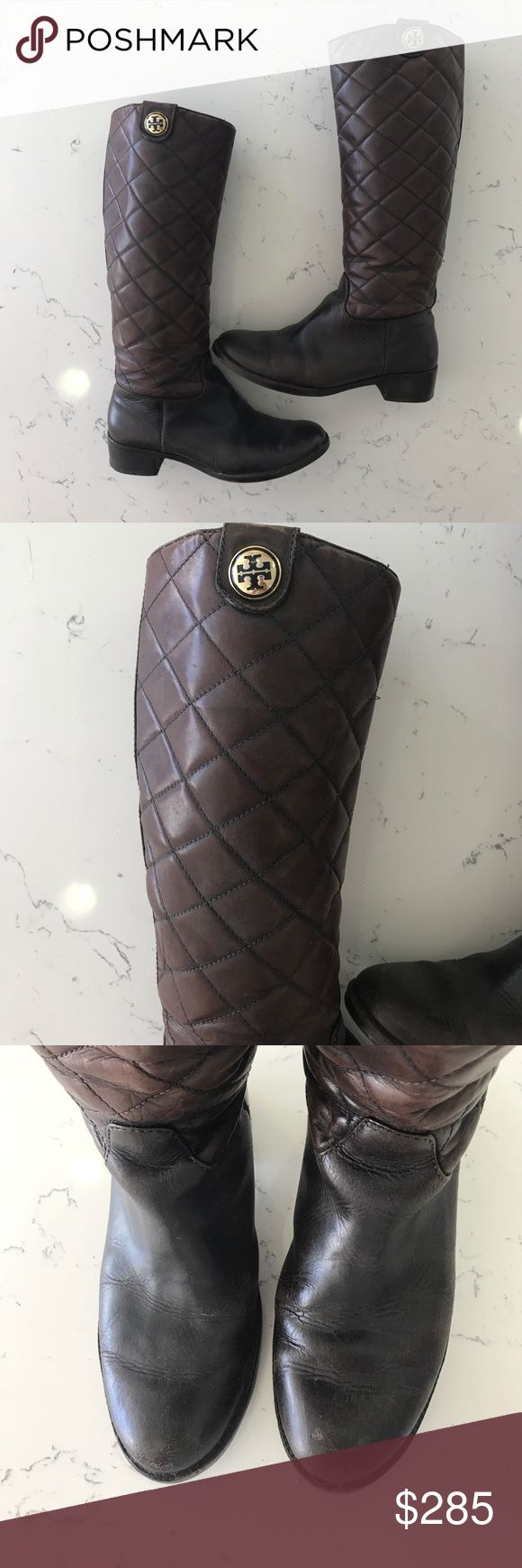 Tory Burch quilted leather boots Gorgeous and soooo comfortable! Recently re-heeled and conditioned beautiful brown leather boots. Some wear and tear but overall in great shape and tons of wear left in them. I moved to California and no longer wear boots in this hot weather! Please note one of the studs is a little loose but not noticeable when wearing. Tory Burch Shoes Winter & Rain Boots