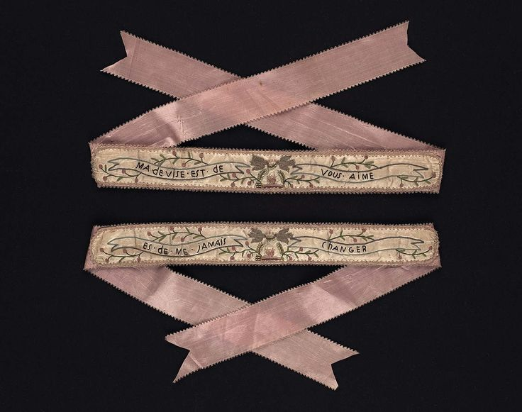 Silk plain weave with silk tambour work and embroidery on silk ribbon. France, 18th C. 1 11/16 x 35 1/2 inch