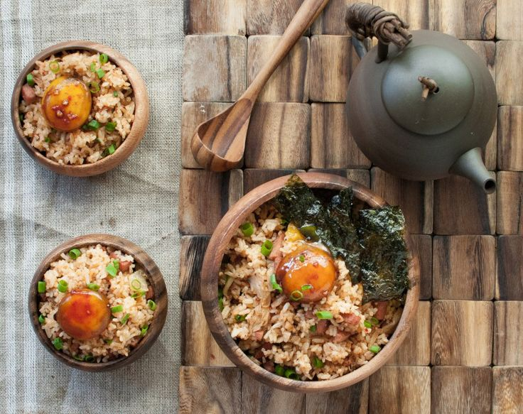 Kimchi Fried Rice - topped with a soy-cured egg yolk