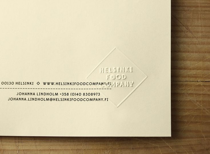 Headed paper with blind emboss detail for Helsinki Food Company designed by Werklig.