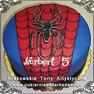075. Tort z motywem Spidermana, pająk na pajęczynie. Spiderman cake.