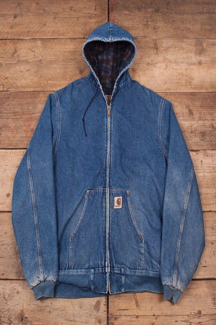 Mens Vintage Carhartt 90s Blue Hooded Denim Workwear Jacket Usa Xxl 52 R9750 Carhartt Jacket Jackets Work Wear [ 1104 x 736 Pixel ]