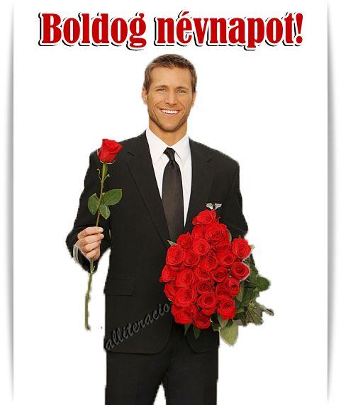 névnap, képeslap, pasi, rózsa, csokor, férfi, rózsával,