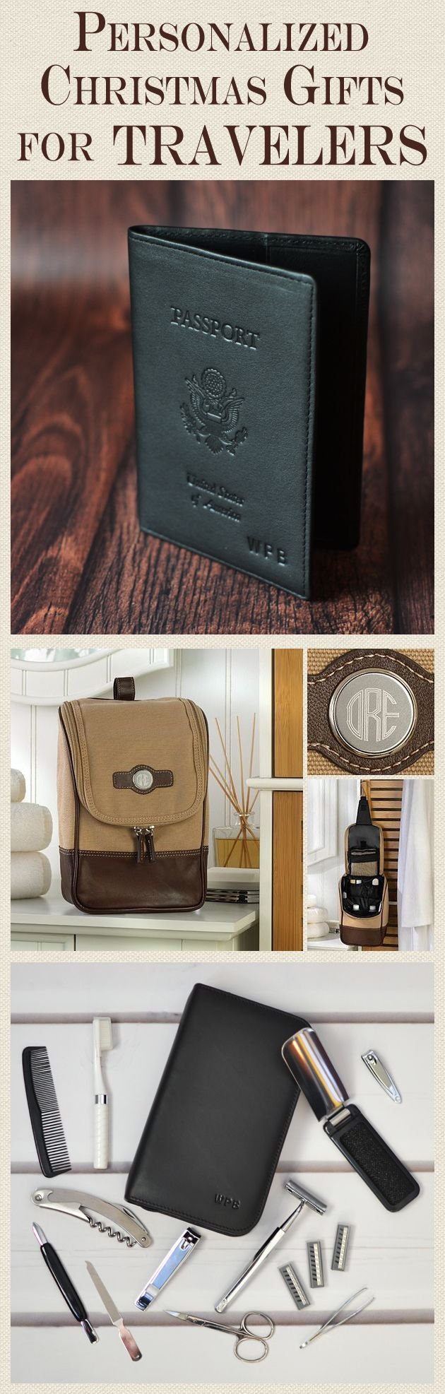 Unique gifts for the traveler or professional on-the-go, leather passports, travel grooming kits, messenger bags, and travel kits personalized with a name or initials are thoughtful gift ideas for men and women of all ages. These gifts and more can be ordered at http://myweddingreceptionideas.com/holiday_professional_corporate_executive_gifts.asp